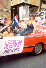 With Lesbian Herstory Archives contingent in NYC Pride parade, 1997